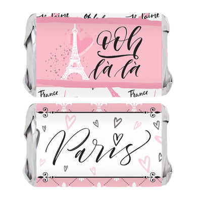 Pink Paris Party Mini Candy Bar Stickers - 45 Count