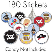 Pirate Party Favor Stickers - 180 Count