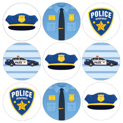 Police Birthday Party Favor Stickers - 180 Count