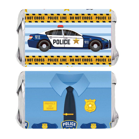 Police Birthday Party Mini Candy Bar Stickers - 45 Count