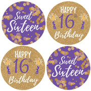 Purple and Gold Sweet Sixteen Party Round Labels - 40 Stickers