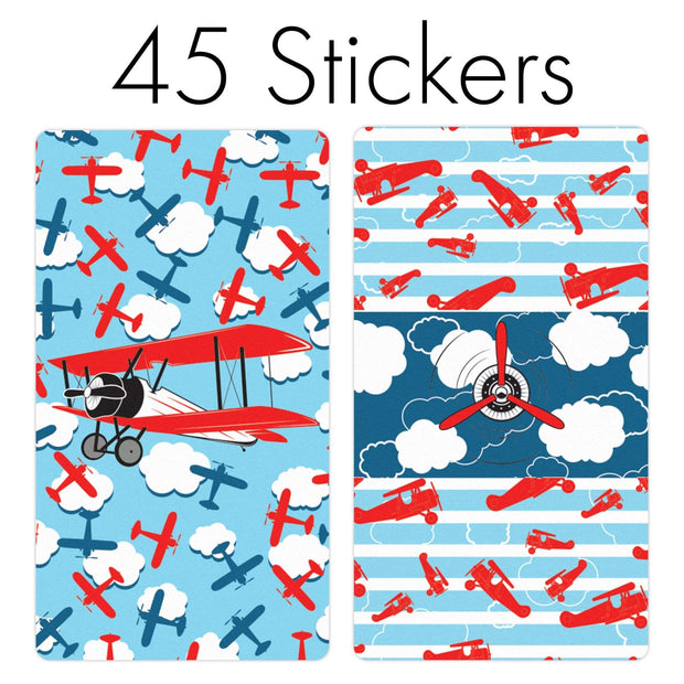 Red Airplane Mini Candy Bar Favor Stickers - 45 Count