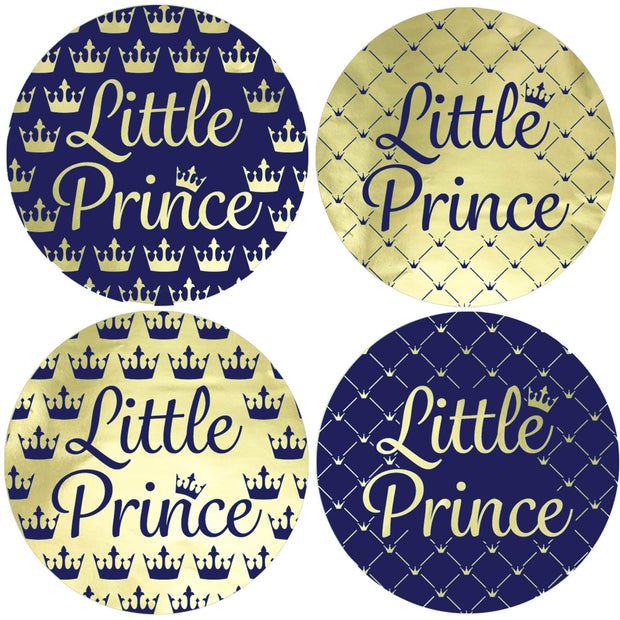 Royal Little Prince Metallic Foil Baby Shower Favor Labels - 40 Stickers