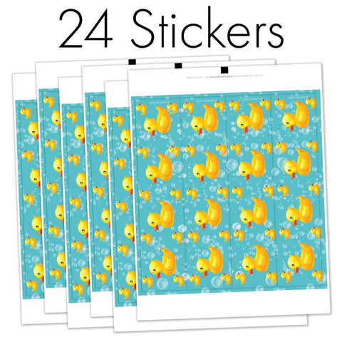 Rubber Ducky Bubble Bath Water Bottle Labels - 24 Count