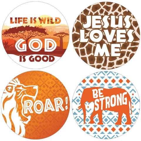 Safari Vacation Bible School Round Labels - 40 Stickers