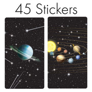 Space Party Favor Mini Candy Bar Stickers - 45 Count