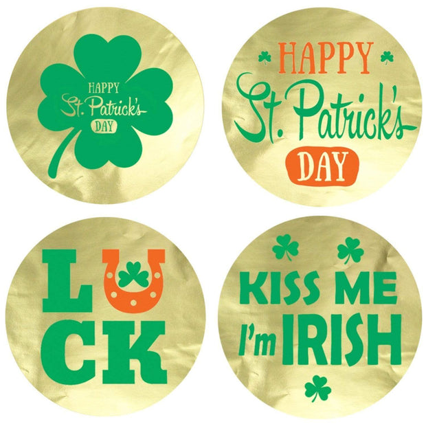 St Patrick's Day Metallic Foil Shirt Stickers - 40 Count