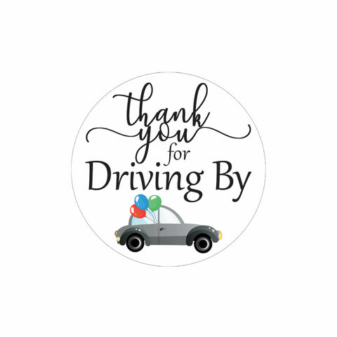 Black Thank you for Driving By Stickers - 40 Labels