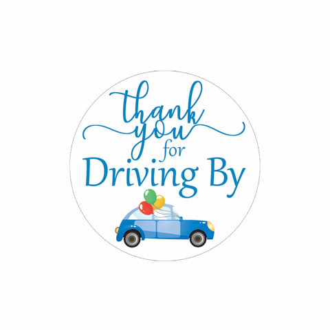 Blue Thank you for Driving By Stickers - 40 Labels