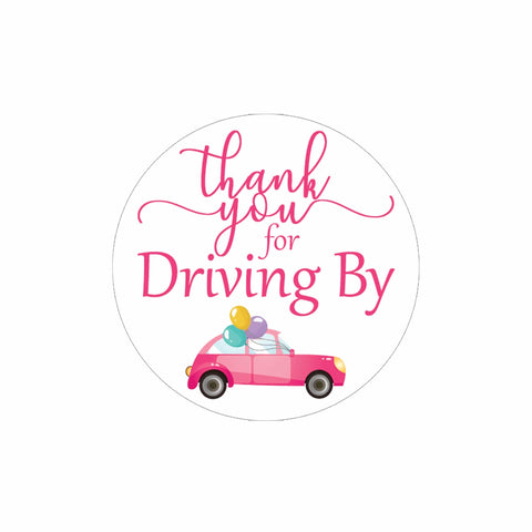 Pink Thank you for Driving By Stickers - 40 Labels