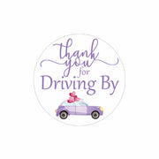 Purple Thank you for Driving By Stickers - 40 Labels