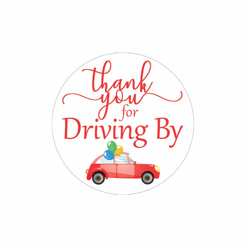 Red Thank you for Driving By Stickers - 40 Labels