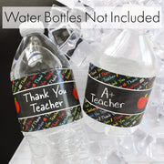 Thank You Teacher Water Bottle Labels - Teacher Appreciation - 24 Stickers