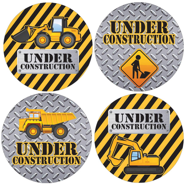 Under Construction Party Round Labels - 40 Stickers