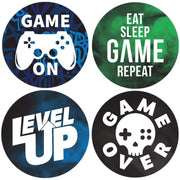 Video Gamer Birthday Party Round Labels - 40 Stickers