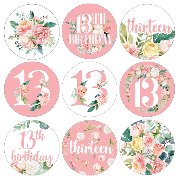Watercolor Floral 13th Birthday Party Favor Stickers - 180 Count