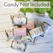 Watercolor Floral 13th Birthday Party Mini Candy Bar Wrappers - 45 Count