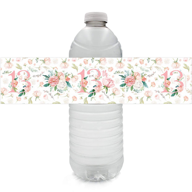 Watercolor Floral 13th Birthday Party Water Bottle Labels - 24 Count