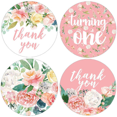 Watercolor Floral 1st Birthday Party Round Labels - 40 Stickers