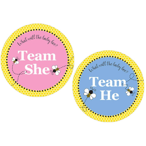 What Will Baby Bee Gender Reveal Party - Team Boy or Girl - 40 Stickers
