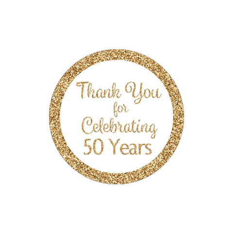 White and Gold 50 Years Thank You Stickers - 40 Labels