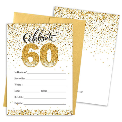 White and Gold 60th Birthday Party Invitation Cards with Envelopes - 10 Count