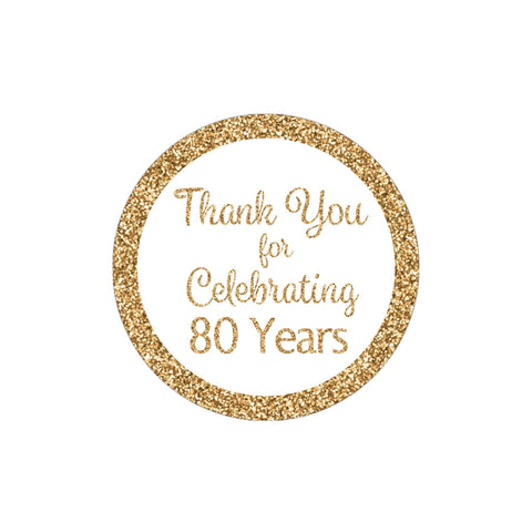 White and Gold 80th Birthday Thank You Stickers - 40 Labels