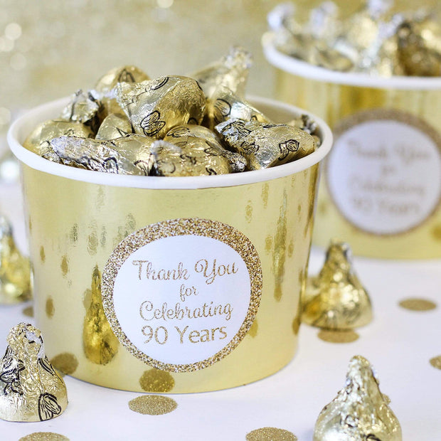 White and Gold 90th Birthday Thank You Stickers - 40 Labels