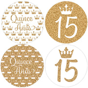 White and Gold Quinceanera Favor Labels - 40 Stickers