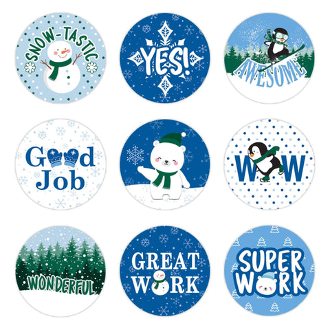Winter Theme Motivational Reward Stickers for Students (1,080 Stickers)