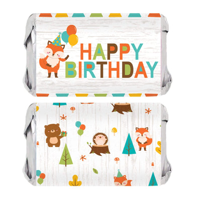 Woodland Animals Birthday Mini Candy Bar Labels - 45 Stickers