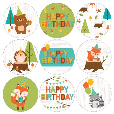Woodland Animals Birthday Party Favor Stickers - 180 Count