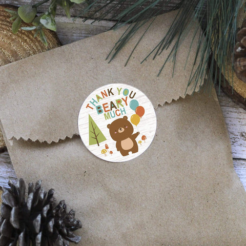 Woodland Animals Birthday Thank You Stickers - 40 Labels