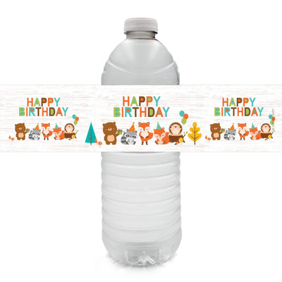 Woodland Animals Birthday Water Bottle Labels - 24 Stickers