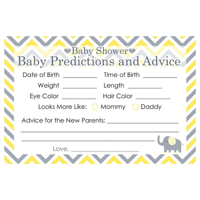 Yellow and Gray Elephant Baby Advice and Predictions Cards - 20 Count