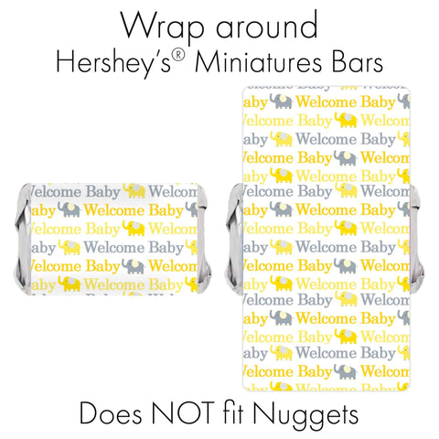 Yellow and Gray Elephant Baby Shower Mini Candy Bar Stickers - 45 Count
