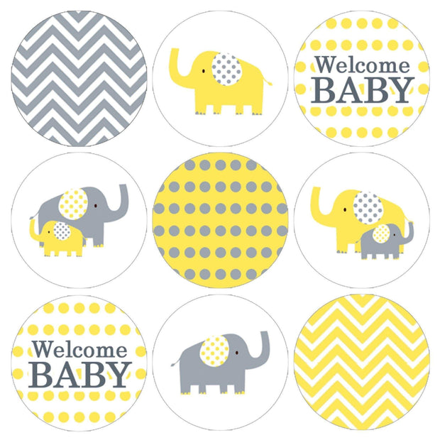 Yellow and Gray Elephant Baby Shower Stickers - 180 Count