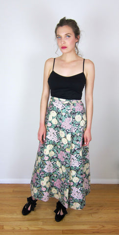 Quilted Floral Imagnin Wrap Skirt
