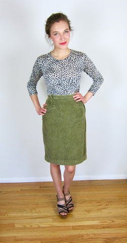 Army Green Corduroy Skirt