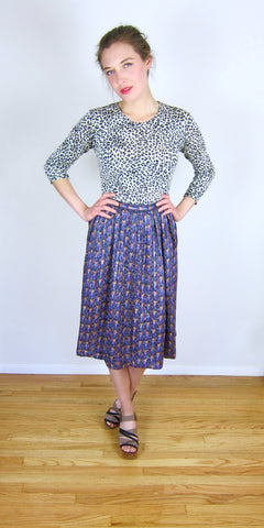 High Waisted Patterned 80's Skirt