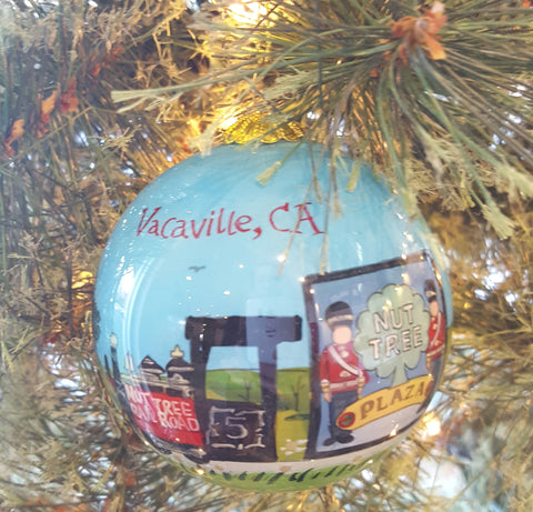 Nut Tree Hand Painted Glass Ornament