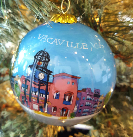 Downtown Vacaville Hand Painted Glass Ornament