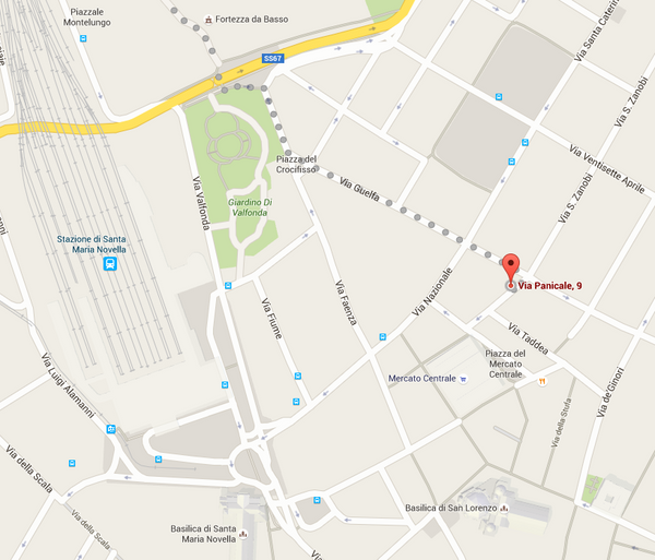 Map to Lazy Francis showroom in Florence on via Panicalle 9