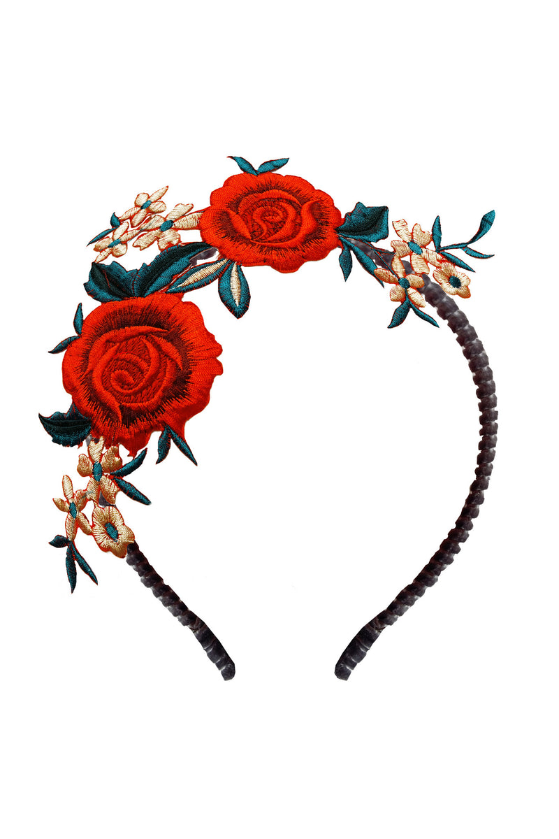 Rose Embroidery Girls Headband - LAZY FRANCIS - Shop in store at 406 Kings Road, Chelsea, London or shop online at www.lazyfrancis.com