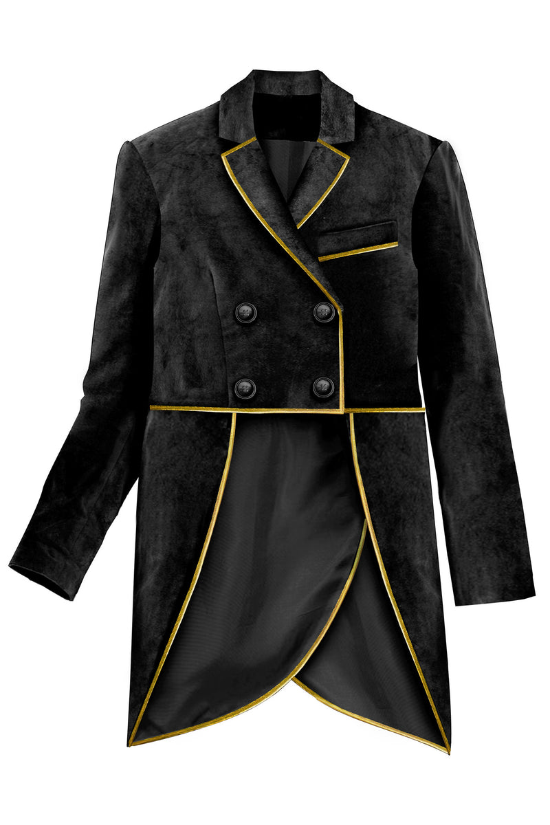 Black Velvet Boys Tail-Coat Suit with Detachable Tails, decorated with Gold Piping