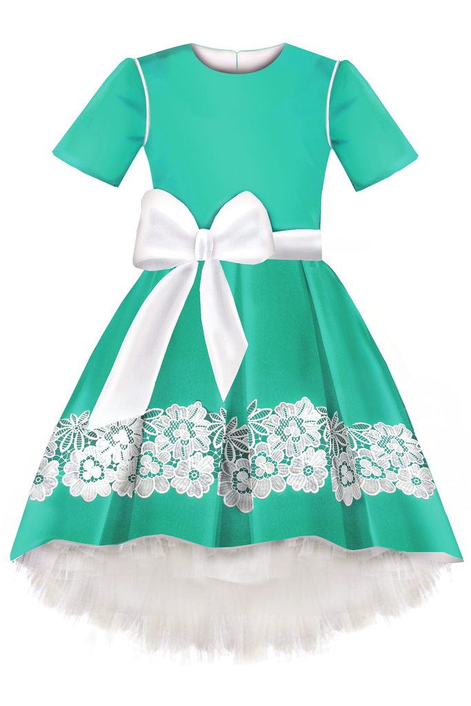 lazy francis Turquoise High-Low Girls Dress with White Lace and Bow