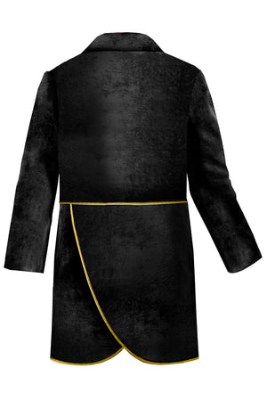 Black Velvet Boys Tail-Coat with Detachable Tails, decorated with Gold Piping - LAZY FRANCIS - Shop in store at 406 Kings Road, Chelsea, London or shop online at www.lazyfrancis.com