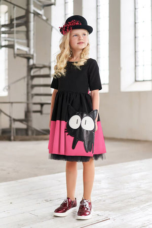 Black and Pink Full Girls Dress with Cat Appliqué