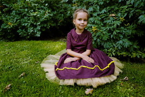 Bordo Dream High-Low Girls Dress with Gold Details and Tulle Underskirt