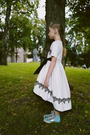 ⋆One Exclusive Dress Only⋆ Elegant Light Grey Ivory Eco Leather Girls High-Low Dress with Black French Flower Leaf Lace Details